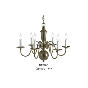 Brass Chandelier - 8120-6Chandelier - Graham's Lighting Memphis, TN