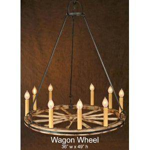 Wood Chandelier - WAGON WHEELChandelier - Graham's Lighting Memphis, TN