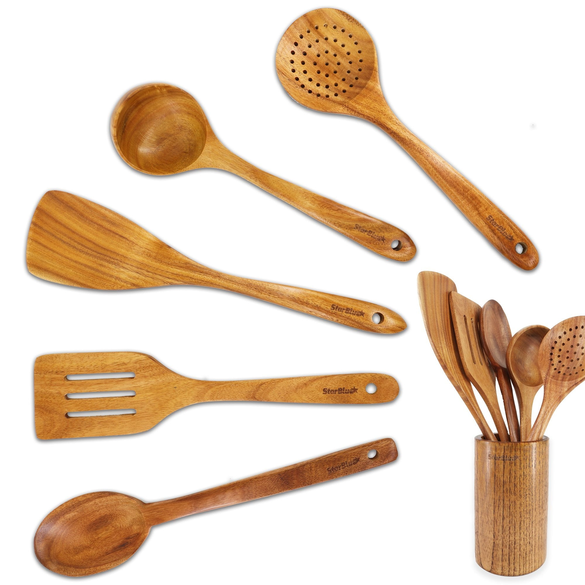 6 Pieces Acacia Wooden Cooking Utensils Set Starblue