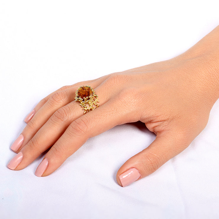 Coral Baltic Amber Ring