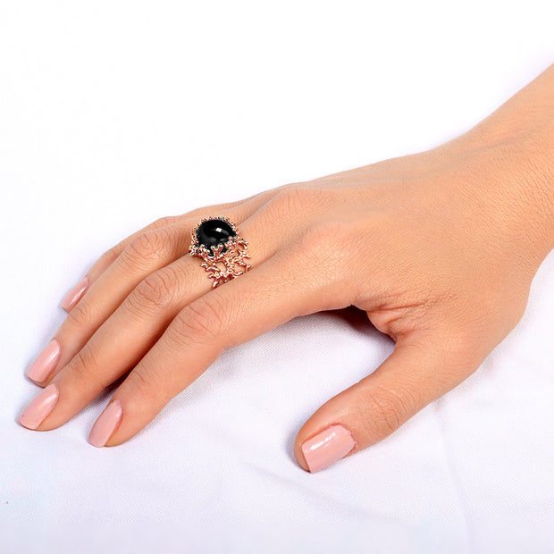 Coral Rose Gold Onyx Ring