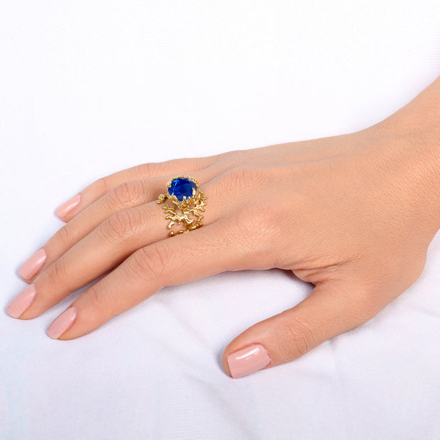 Coral Blue Sapphire Gold Ring