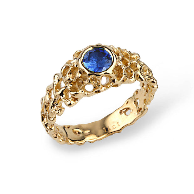 Coral Blue Sapphire Solitaire Gold Ring