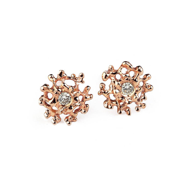 Coral Rose Gold Earrings
