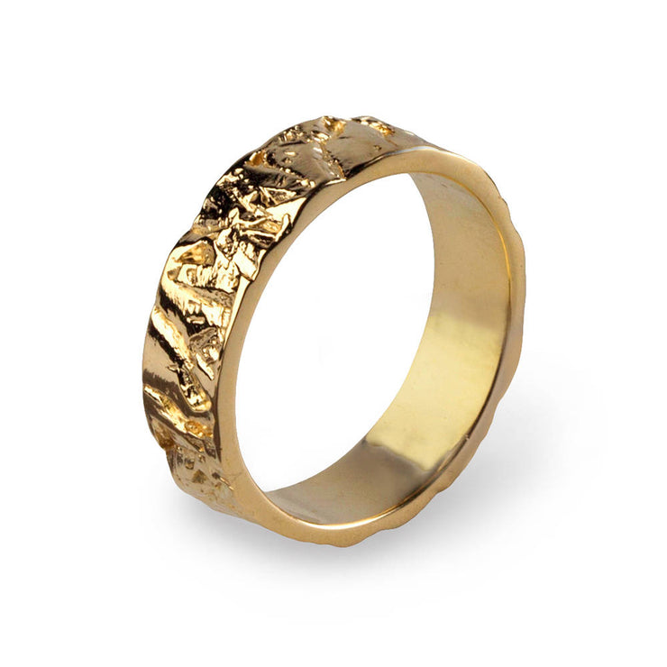 Meteorite Gold Wedding Band Ring