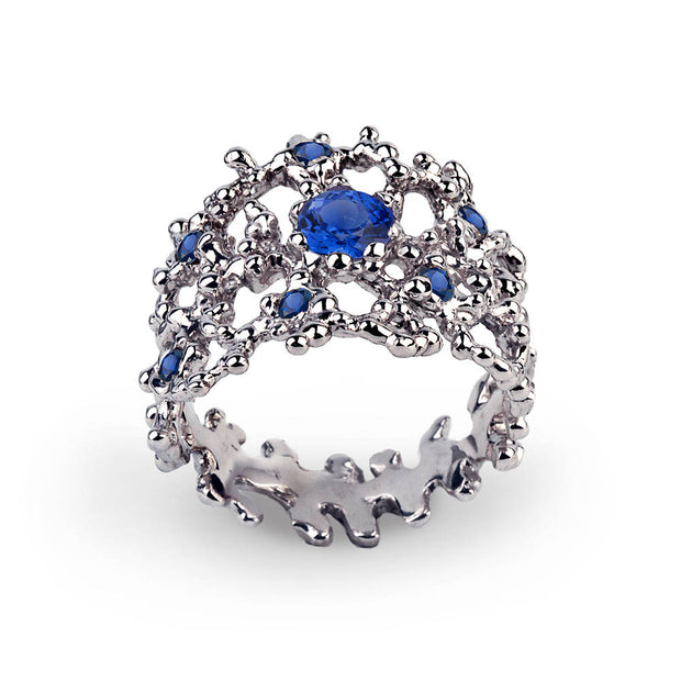 Coral Blue Sapphire Band Ring