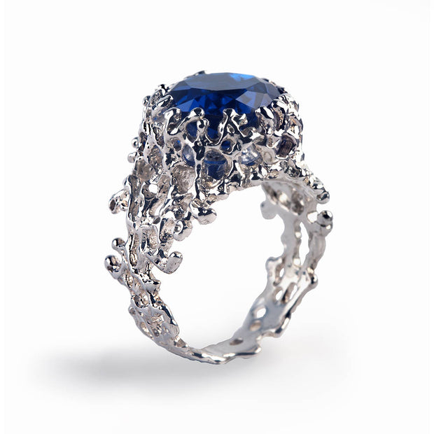 Coral Blue Sapphire Ring