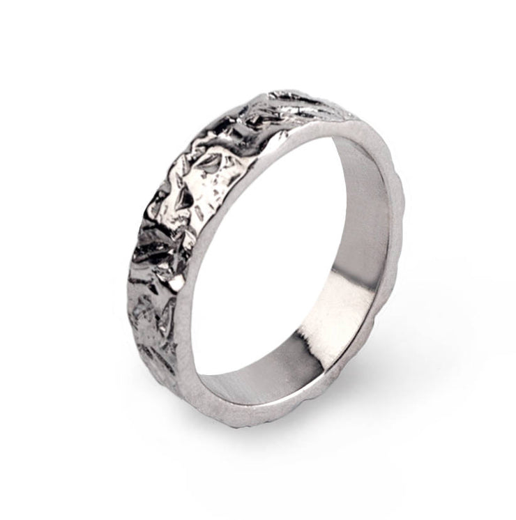 Meteorite White Gold Wedding Band Ring