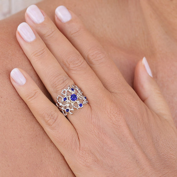 Coral Blue Sapphire Gold Band Ring
