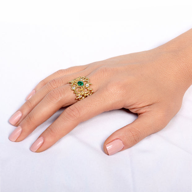 Coral Emerald Gold Band Ring