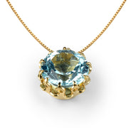 Crown Blue Topaz Pendant Necklace