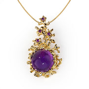 Coral Gold Amethyst Pendant Necklace