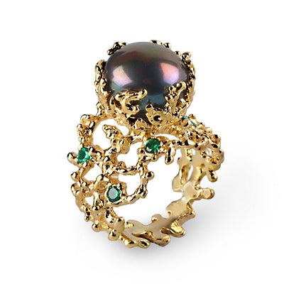 Coral Black Pearl Emerald Ring