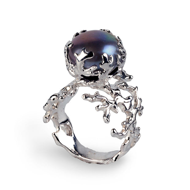 Coral Black Pearl Ring