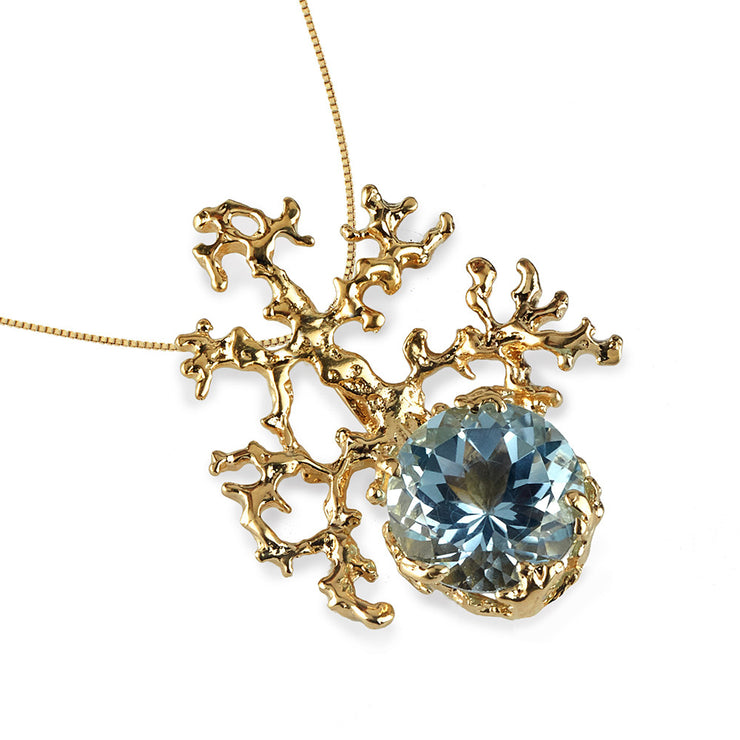 Coral Sky Blue Topaz Gold Pendant Necklace
