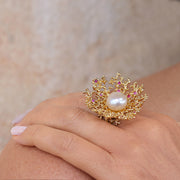 Huge Coral Flower Pearl Ruby Gold Ring