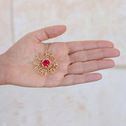 Coral Flower Ruby Gold Pendant Necklace