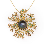 Coral Flower Emerald Black Pearl Gold Pendant Necklace