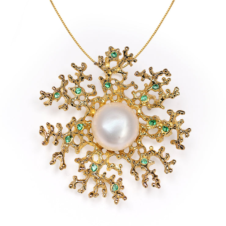 Coral Flower Emerald Pearl Gold Pendant Necklace
