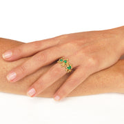 arosha taglia Between the Seaweeds Emerald Gold Ring ocean jewelry
