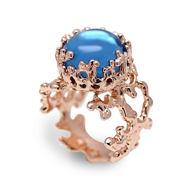 Coral London Blue Topaz Rose Gold Ring