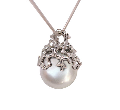 Coral White Pearl White Gold Pendant Necklace