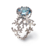 Coral Sky Blue Topaz Ring