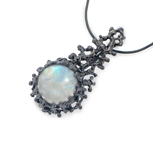 Coral Moonstone Pendant Necklace