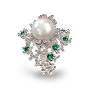 Coral Emerald White Pearl Ring