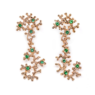 SEA HORSE Emerald Rose Gold Earrings
