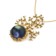 Coral Black Pearl Gold Pendant Necklace