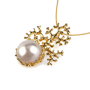 Coral White Pearl Gold Pendant Necklace
