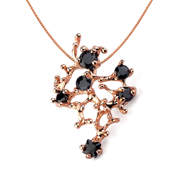 Coral Reef Rose Gold Black Cubic Zirconia CZ Necklace Pendant