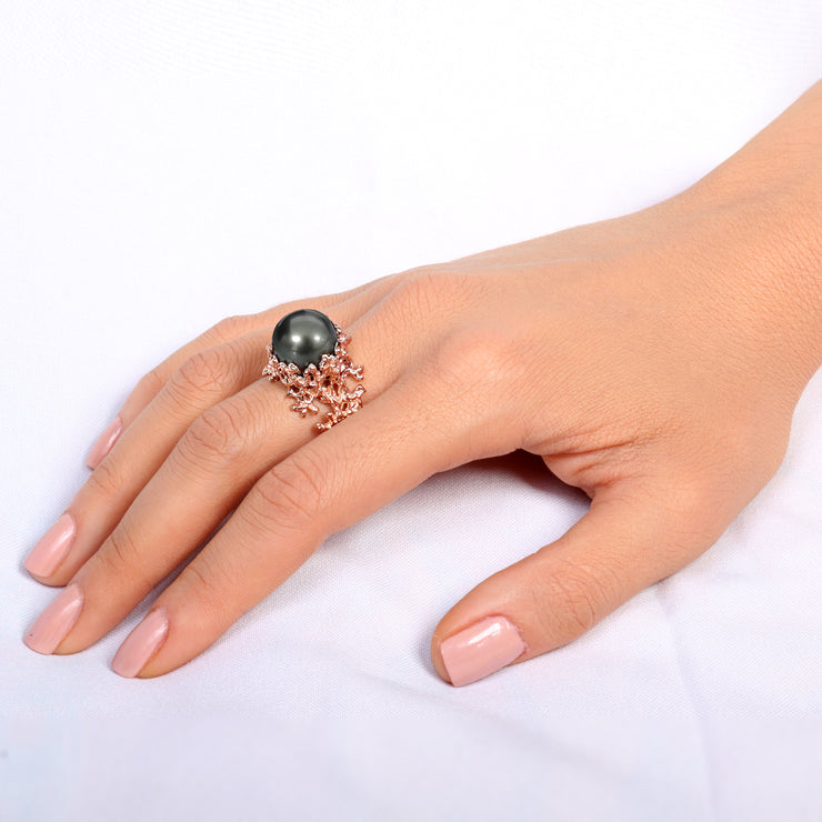 Coral Tahitian Pearl Wide Rose Gold Ring