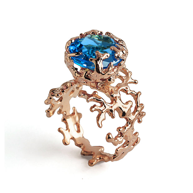 Coral Swiss Blue Topaz Rose Gold Ring