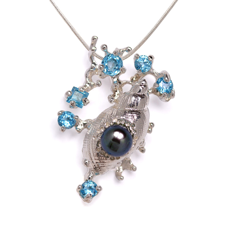 Coral Reef Sea Shell Blue Topaz Black Pearl Pendant Necklace