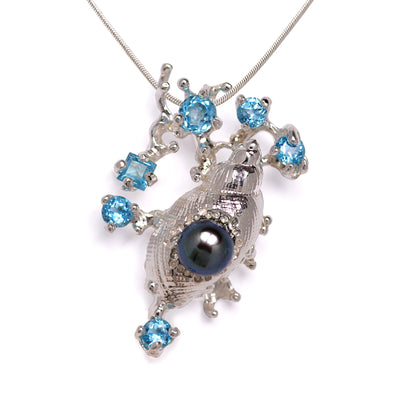 Coral Reef Shell Blue Topaz Black Pearl Pendant Necklace