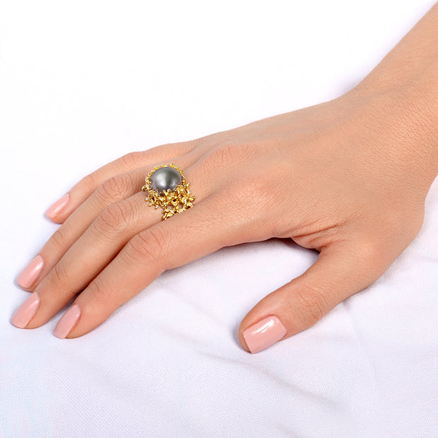 Coral Gray Pearl Gold Ring