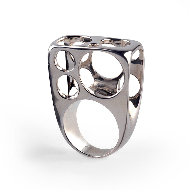 Bubbles Tunnel Silver Ring