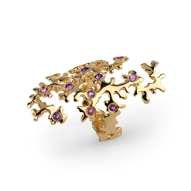 Coral Island Gold Amethyst Ring
