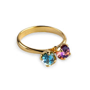 Charms Amethyst and Blue Topaz Gold Ring