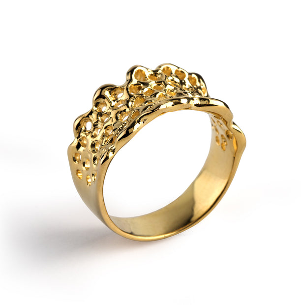Filigree Lace Gold Wedding Band Ring
