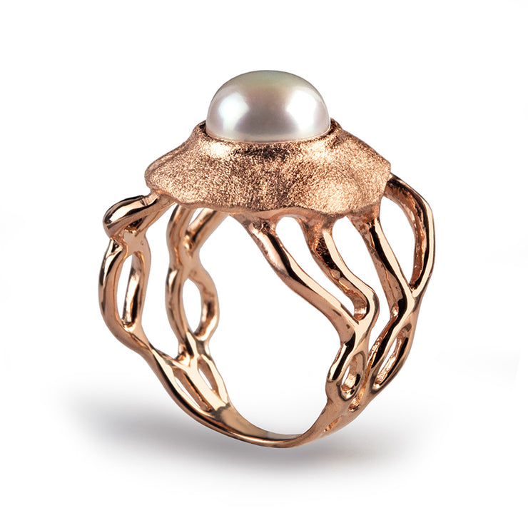 Medusa White Pearl Rose Gold Ring