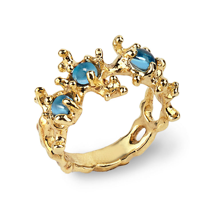 Between the Seaweeds Blue Topaz Gold Ring
