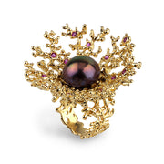 Huge Coral Flower Black Pearl Ruby Gold Ring