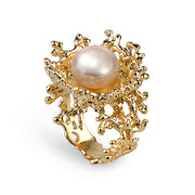 Coral Flower Pearl Gold Ring