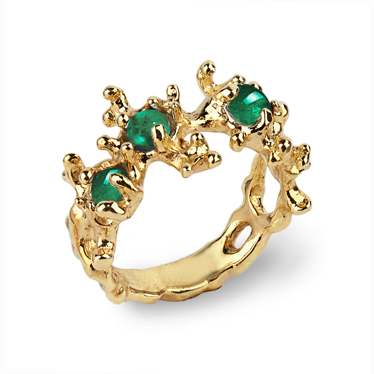 Between the Seaweeds Emerald Gold Ring