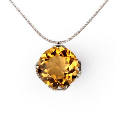 Cup Citrine Charm Pendant Necklace