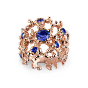 Coral Blue Sapphire Rose Gold Band Ring