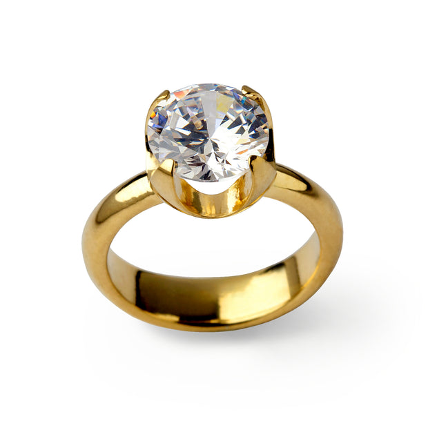 Cup CZ Gold Ring